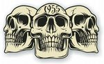 Vintage Biker 3 Gothic Skulls Year Dated Skull 1955 Cafe Racer Helmet Vinyl Car Sticker 120x70mm